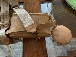 Sandfarbene Leder Umhängetasche mit 2 Riemen & Portmonee