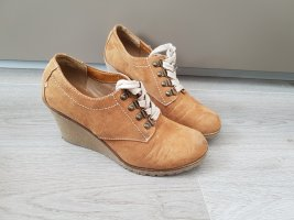 sandfarbene Schuhe mit Keilabsatz, Ankle Boots, von Graceland, Gr. 39