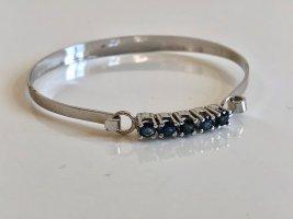 Saphir 925 Silber Luxus Vintage Armspange Armreif blau Edelstein facettiert