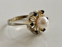 Saphire & Perle Ring 835 Silber vintage Silberring Gold bicolor Vintage