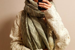 Pieces Knitted Scarf beige-green grey