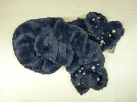 Schal aus kuscheligem Webpelz in Blau Damen Mädchen mit Perlen
