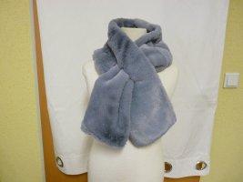 Schal aus kuscheligem Webpelz in Grau Blau Damen Mädchen