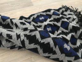 H&M Fringed Scarf black-dark blue