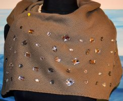 Bufanda de punto taupe-marrón grisáceo