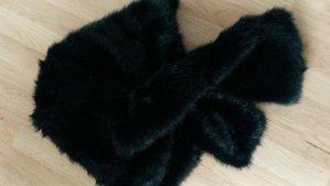 Hallhuber Bufanda de lana negro piel artificial