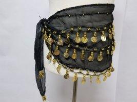 Schal Tuch Bauchtanz mit perlen und Münzen Schwarz Hüftgürtel