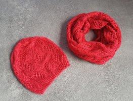 Schal und Mütze Rot Strick H&M