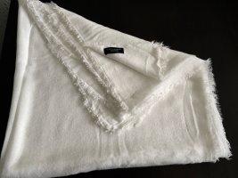 Zara Bufanda de flecos blanco tejido mezclado