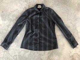 Schick & Modern Schwarzer Nadelstreifen Bluse / Klassischer Hemd mit etwas Stretch gr. M