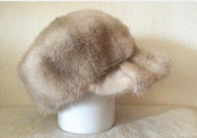 Vintage Futrzana czapka kremowy-beżowy