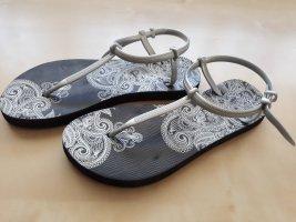 Flip flop sandalen zwart-zilver