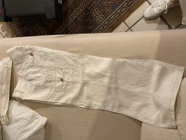 Apanage Spodnie Marlena w kolorze białej wełny-złoto
