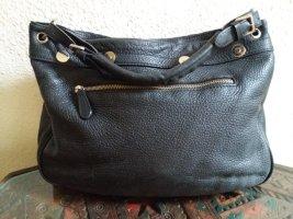 Genuine Leather Bolsa de hombro negro-color plata