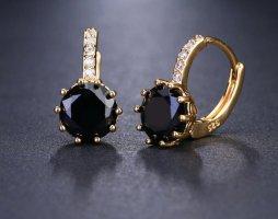 Oorclips zwart-goud