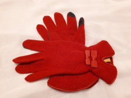 Knitted Gloves red wool
