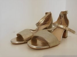 Clarks T-Strap Sandals gold-colored leather