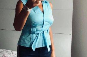 Comma Bluzka bez rękawów baby blue-jasnoniebieski
