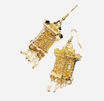 Butique Boucle d'oreille incrustée de pierres doré-blanc
