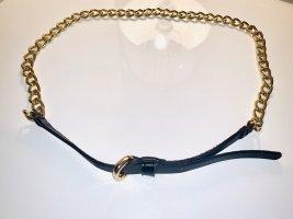 Hallhuber Ceinture en chaîne noir-doré