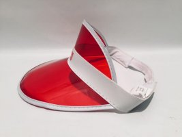 Visor Cap white-red synthetic material