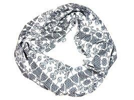 Tube Scarf white-black polyester