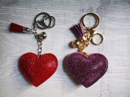 Schlüssel - Taschenanhänger 2 glitzer Herzen rot lila NEU ♥️ Strass