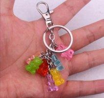 Schlüssel-/Taschenanhänger 7 Gummibärchen bunt silberfarben NEU