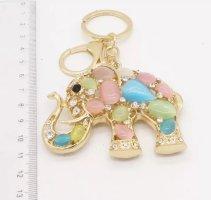 Schlüssel-/ Taschenanhänger Elefant aus gold mit bunten Steinen NEU