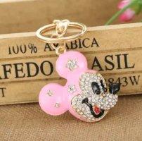 Schlüssel-/Taschenanhänger Maus, Mickey Mouse aus Metall, Strass, schwarz/rosa/gold NEU