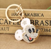Schlüssel-/Taschenanhänger Maus, Mickey Mouse aus Metall, Strass, weiß/gold NEU