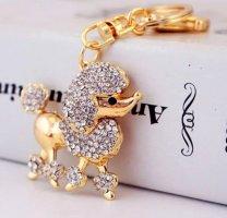 Schlüssel-/Taschenanhänger Pudel, gold, Strass NEU
