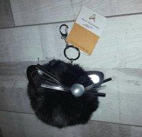 Schlüssel-/ Taschenanhänger Puschel Katze aus Plüsch, schwarz/silber *NEU*