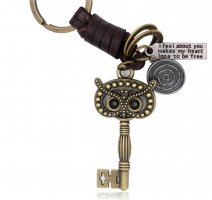 Schlüssel-/ Taschenanhänger Schlüssel Eule bronzefarbig und aus Leder *NEU*