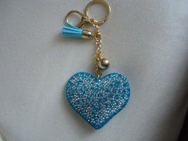 Porte-clés gris clair-bleu azur