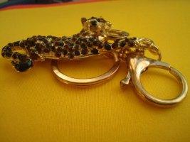 Schlüsselanhänger Panther mit roten Ziersteinen, EFFY