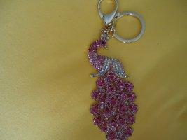 Schlüsselanhänger Pfau rosa