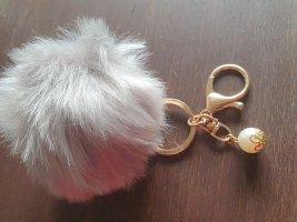 Schlüsselanhänger puschel Taschen Anhänger Kunst fell Grau Gold Perle