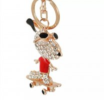 Schlüsselanhänger / Taschenanhänger Snoopy aus Metall, rot Strass glitzer, neu!