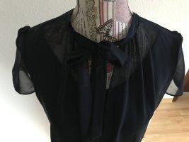 Esprit Tie-neck Blouse dark blue viscose
