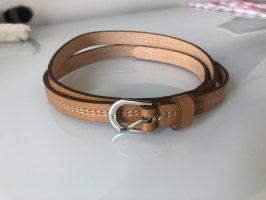 Cintura in ecopelle marrone chiaro-bianco sporco