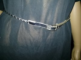 Braided Belt silver-colored leather
