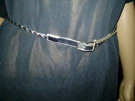 schmaler silberner Ledergürtel- 75 cm- neu