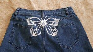 3/4-jeans wit-blauw
