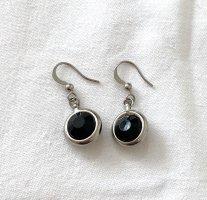 Vintage Pendientes colgante negro-color plata