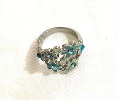 Vintage Srebrny pierścionek srebrny-baby blue