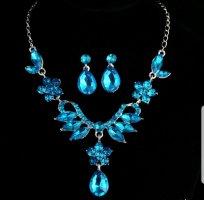 Collar color plata-azul neón