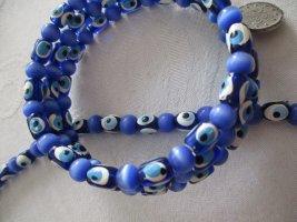 Schmuckset 2 Teile Kette Halskette UND Armreif Armband Mal des Auges mystisch Schutz Glück leuchtend blaue Farbtöne