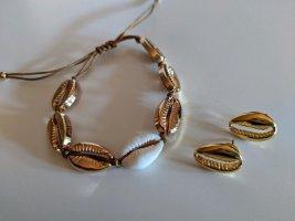 Schmuckset: Armband Muscheln gold+natur und Ohrstecker
