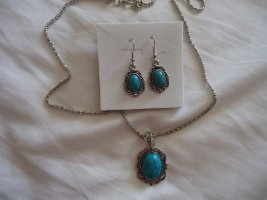 Collier Necklace silver-colored-neon blue